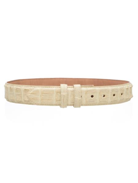 Men's Genuine Hornback Crocodile Skin Belt 1 1/2'' width Winter White