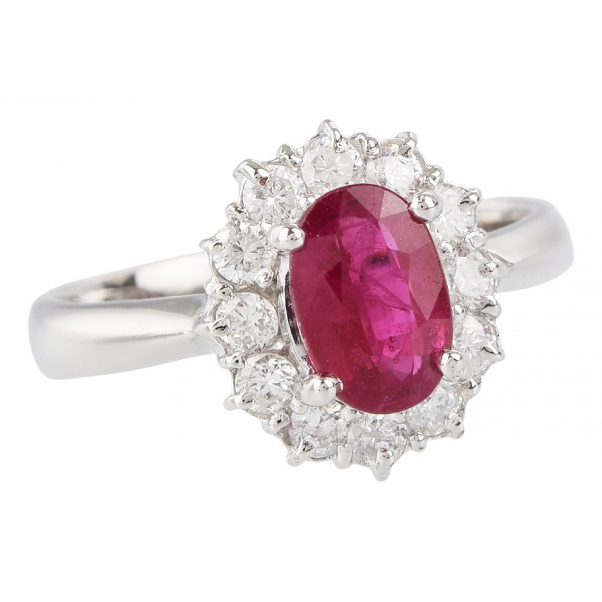 Non Signé / Unsigned Rubis Pink Platinum ring for Women 48 EU