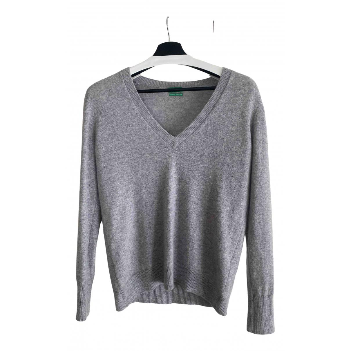 Benetton - Pull   pour femme en cachemire - gris