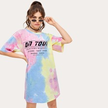 Letter Graphic Tie Dye Tee Dress