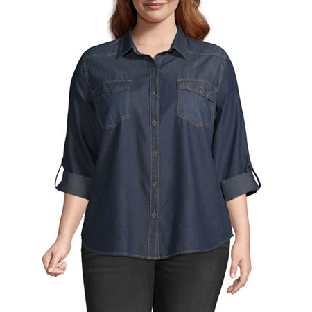 a.n.a-Plus Womens Essential Denim Button-Front Shirt, 0x , Blue