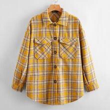 Button Front Flap Pocket Curved Hem Tartan Coat