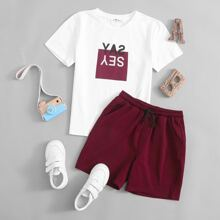 Boys Slogan Graphic Tee And Tie Front Track Shorts Set