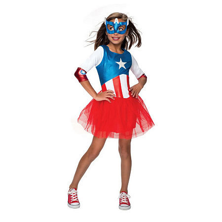 Marvel Avengers American Dream Metallic Dress Toddler Costume (3t-4t) Girls Costume, 3t-4t , Red