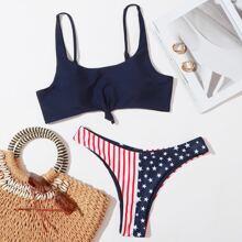 Bikini Badeanzug mit amerikanischer Flagge Muster und Knoten vorn