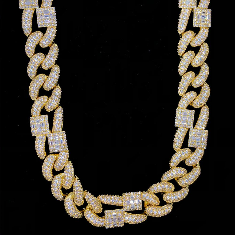 Baguette Cluster & Pave Cuban Bling Bling CZ Iced Out Chain