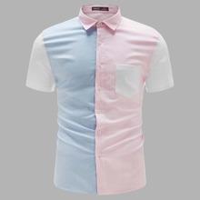 Camisa de color combinado con bolsillo con parche