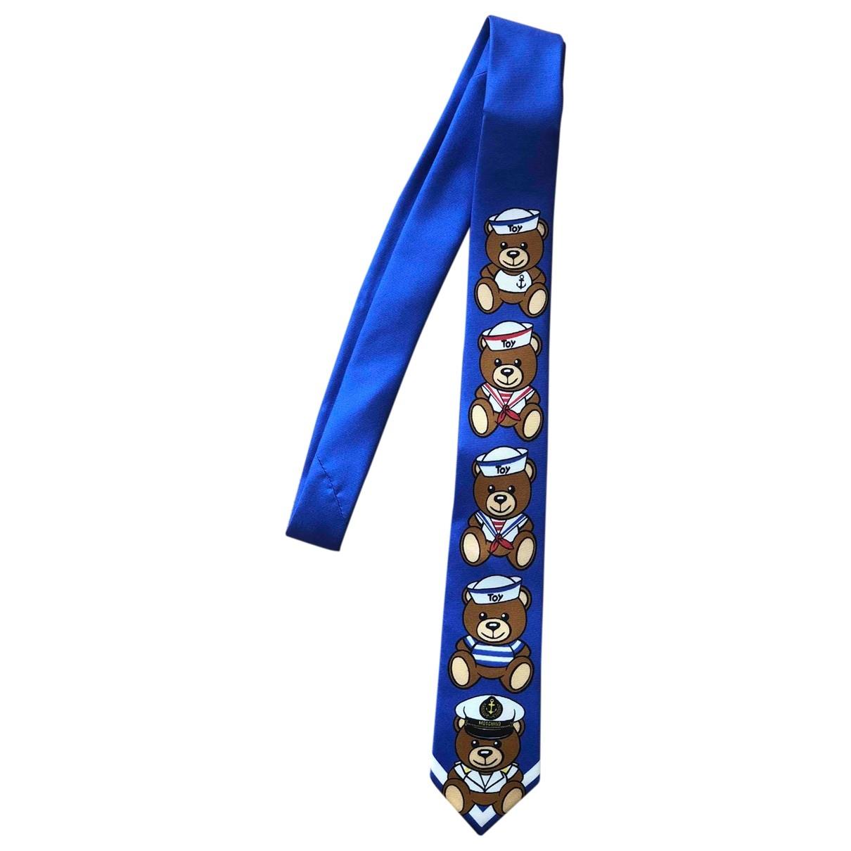 Moschino - Cravates   pour homme en soie - bleu