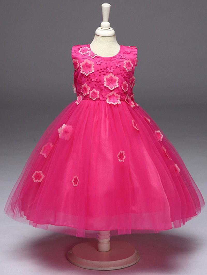 Ericdoress Flower Appliques Mesh Girls Tutu Dress