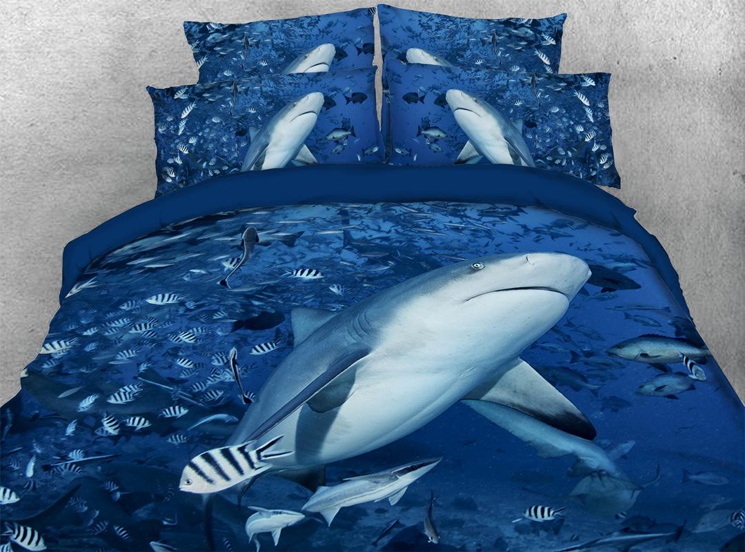 Shark and Fish 3D 4pcs Animal No-fading Bedding Sets Soft Durable Zipper Duvet Cover with Non-slip Ties