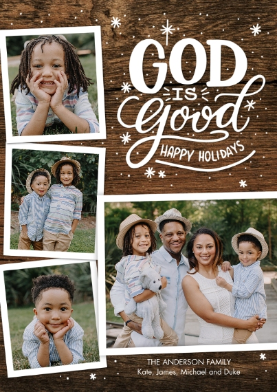 Christmas Photo Cards 5x7 Cards, Premium Cardstock 120lb with Scalloped Corners, Card & Stationery -Christmas God is Good Snapshots by Tumbalina