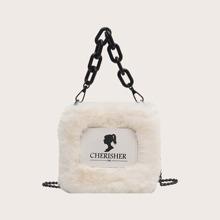 Contrast PU Fluffy Chain Satchel Bag