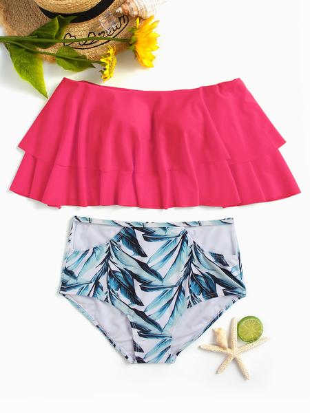 Yoins Random Floral Print Off Shoulder Overlay Swimwears