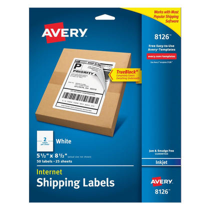 Avery® TrueBlock® White Mailing Labels for Ink Jet Printers - 5-1/2 x 8-1/2