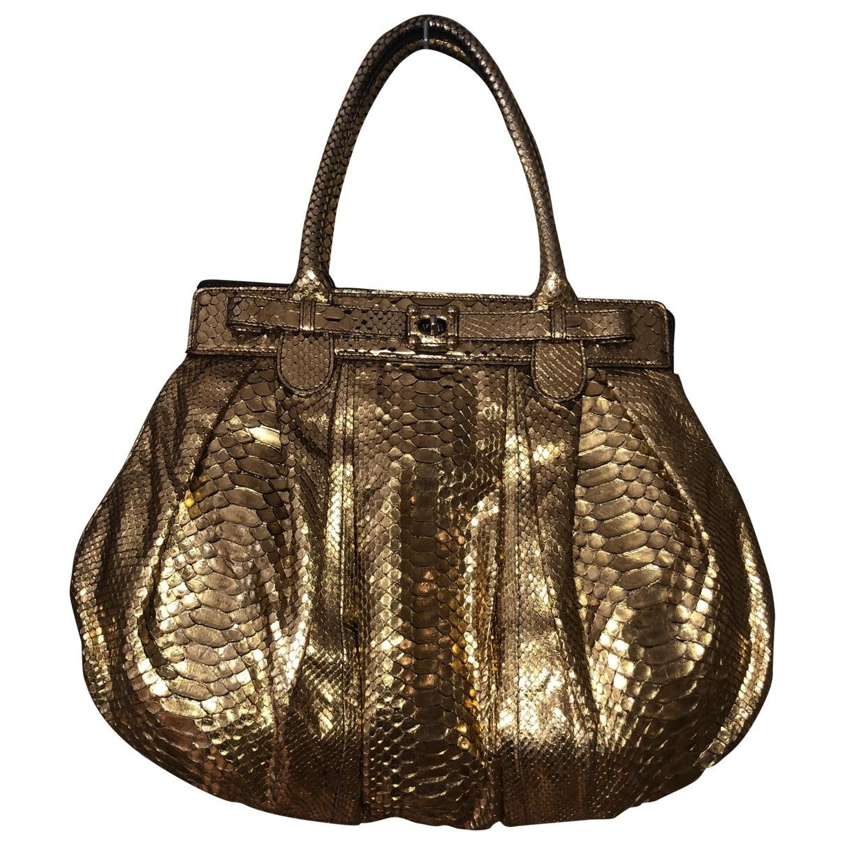 Non Signe / Unsigned \N Handtasche in  Gold Python