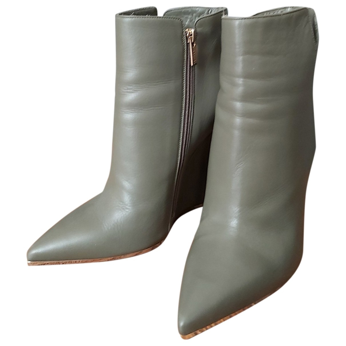 Le Silla \N Green Leather Ankle boots for Women 40 EU