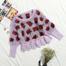 Strick Pullover mit Rose Muster