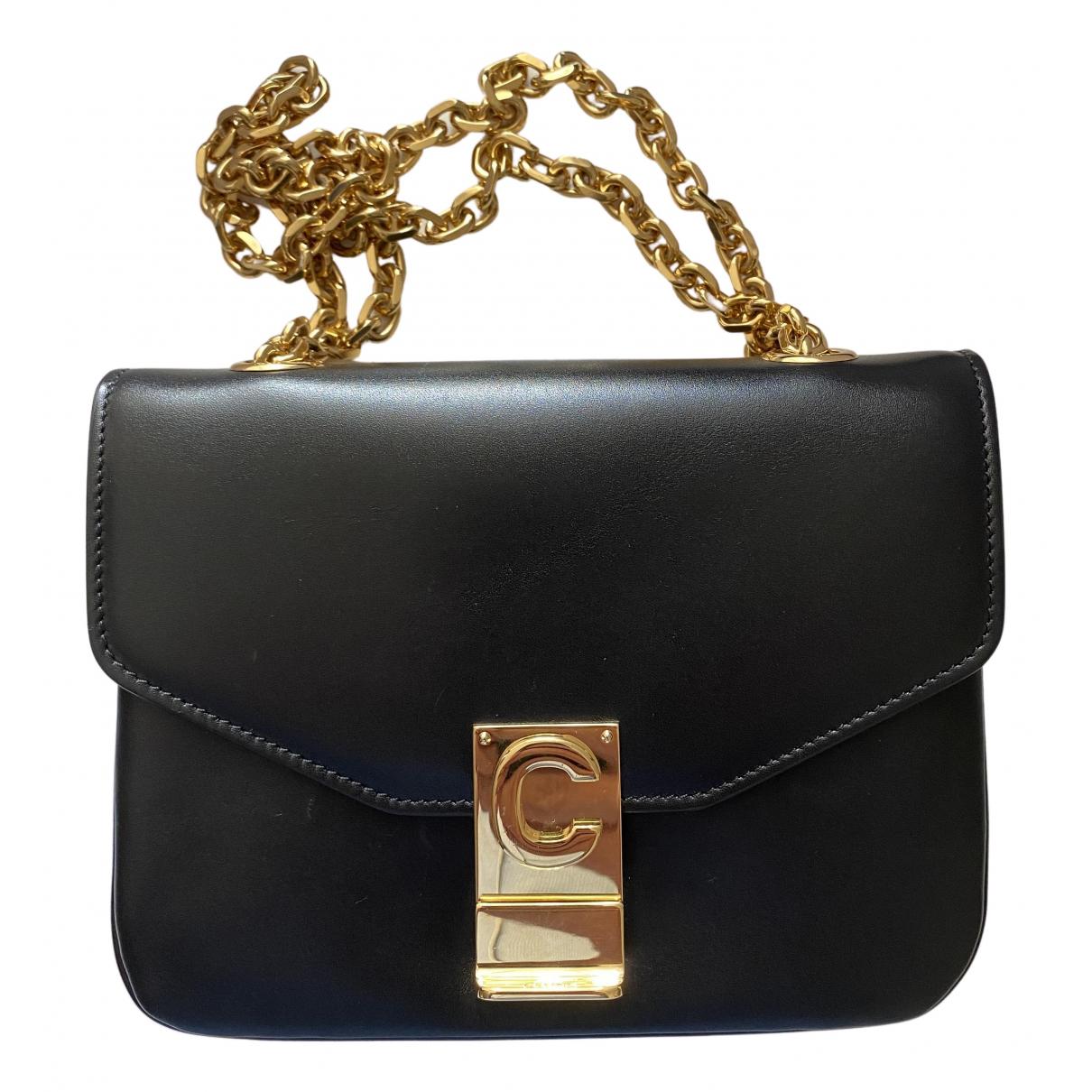 Celine C bag Black Leather handbag for Women N