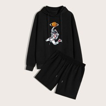 Kapuzenpullover mit Astronaut Muster und Kordelzug & Shorts