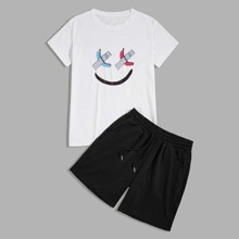 Men Cartoon Graphic Tee & Drawstring Track Shorts