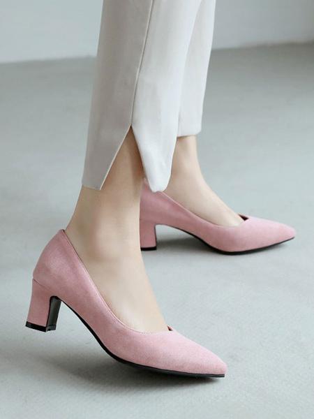 Milanoo Tacones medio-bajos para mujer Tacones gruesos y comodos de color rosa Tacones gruesos Zapatos sin cordones de ante