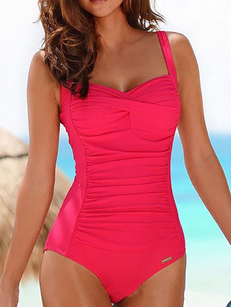 Ericdress Plain Pleated Beach Look Stretchy Swimwear