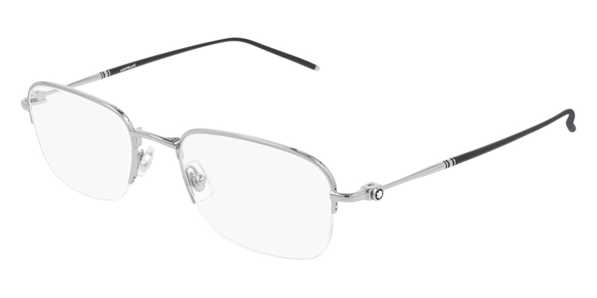 Mont Blanc MB0131O 001 Men's Glasses Silver Size 52 - Free Lenses - HSA/FSA Insurance - Blue Light Block Available