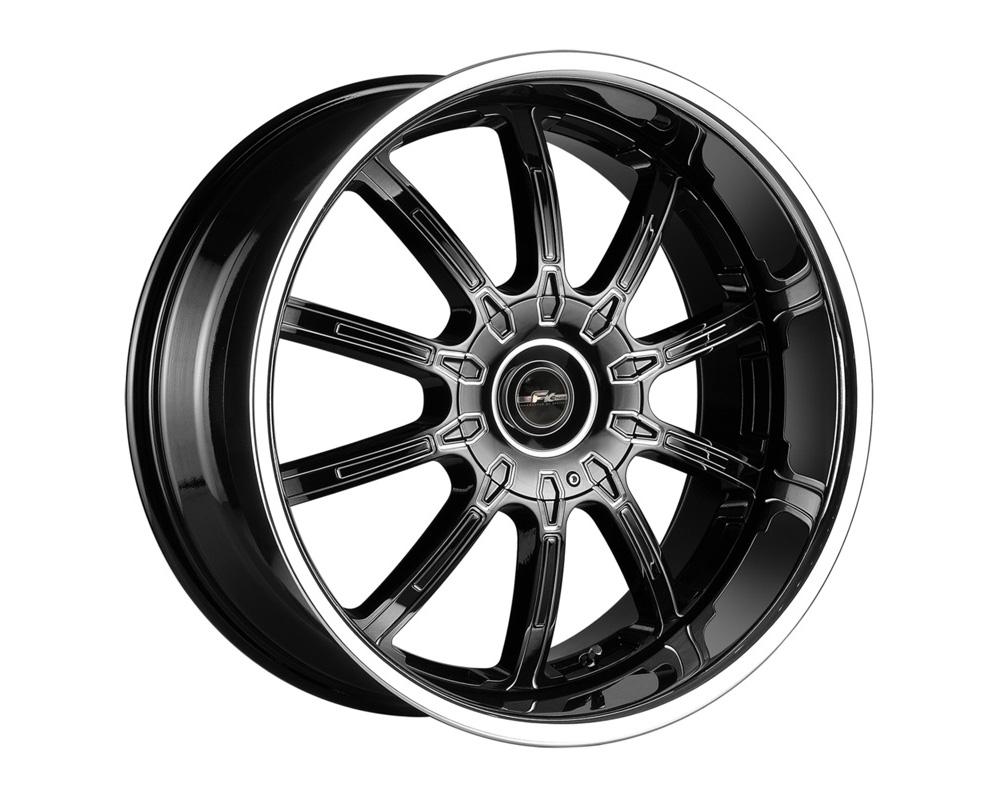FK Ethos LX102261010 LX-10 Black Reverse CNC w/Chrome Lip Wheel 22x8.5 5x110/115 35