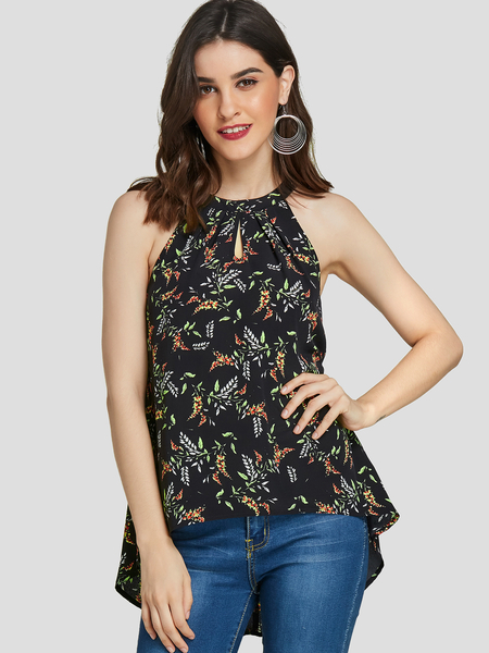YOINS Black High-low Floral Print Halter Sleeveless Camis