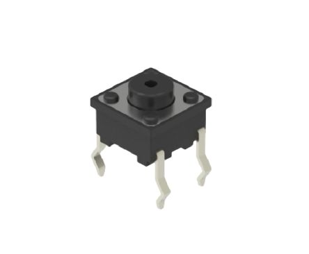 Alps Alpine Black Button Tactile Switch, Single Pole Single Throw (SPST) 50 mA 1.3mm Snap-In (10)