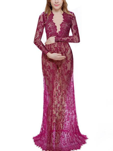 Milanoo Maternity Maxi Dress Lace V Neck Long Sleeve Semi Sheer Baby Shower Dresses