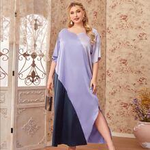 Vestido bajo con abertura de color combinado