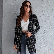 Mantel mit Karo Muster und asymmetrischem Saum