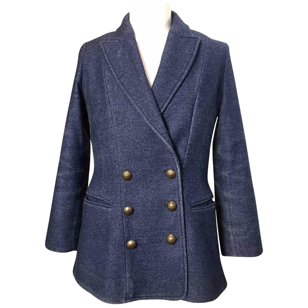 7 For All Mankind \N Blue Wool jacket for Women L International