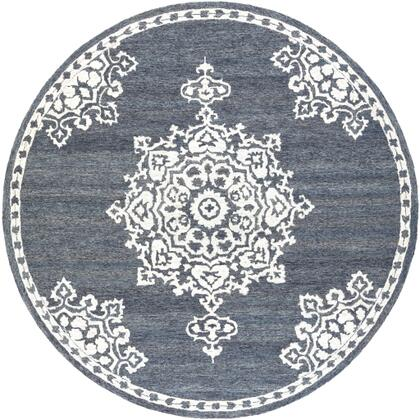 Granada GND-2309 6' Round Traditional Rug in Charcoal