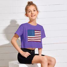 Girls American Flag & Letter Print Top