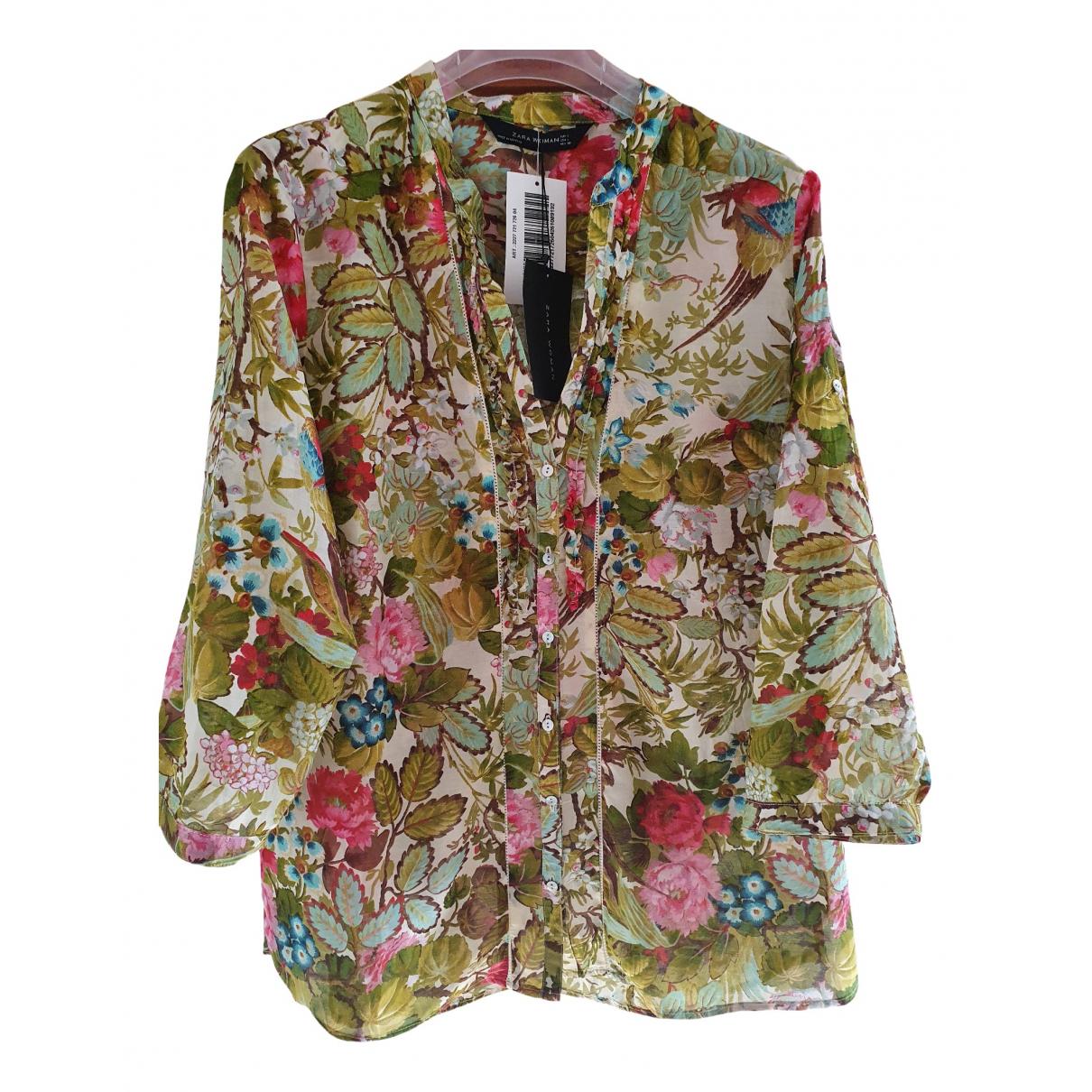 Zara - Top   pour femme en coton - multicolore