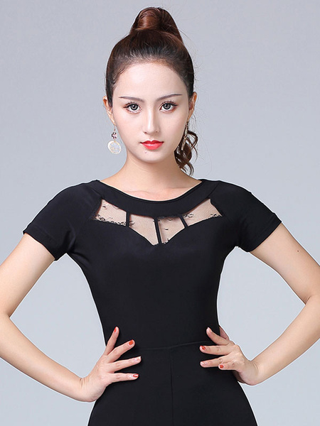 Milanoo Ballroom Dance Costumes Black Women Rayon Cut Out Ballroom Dancer Top Halloween