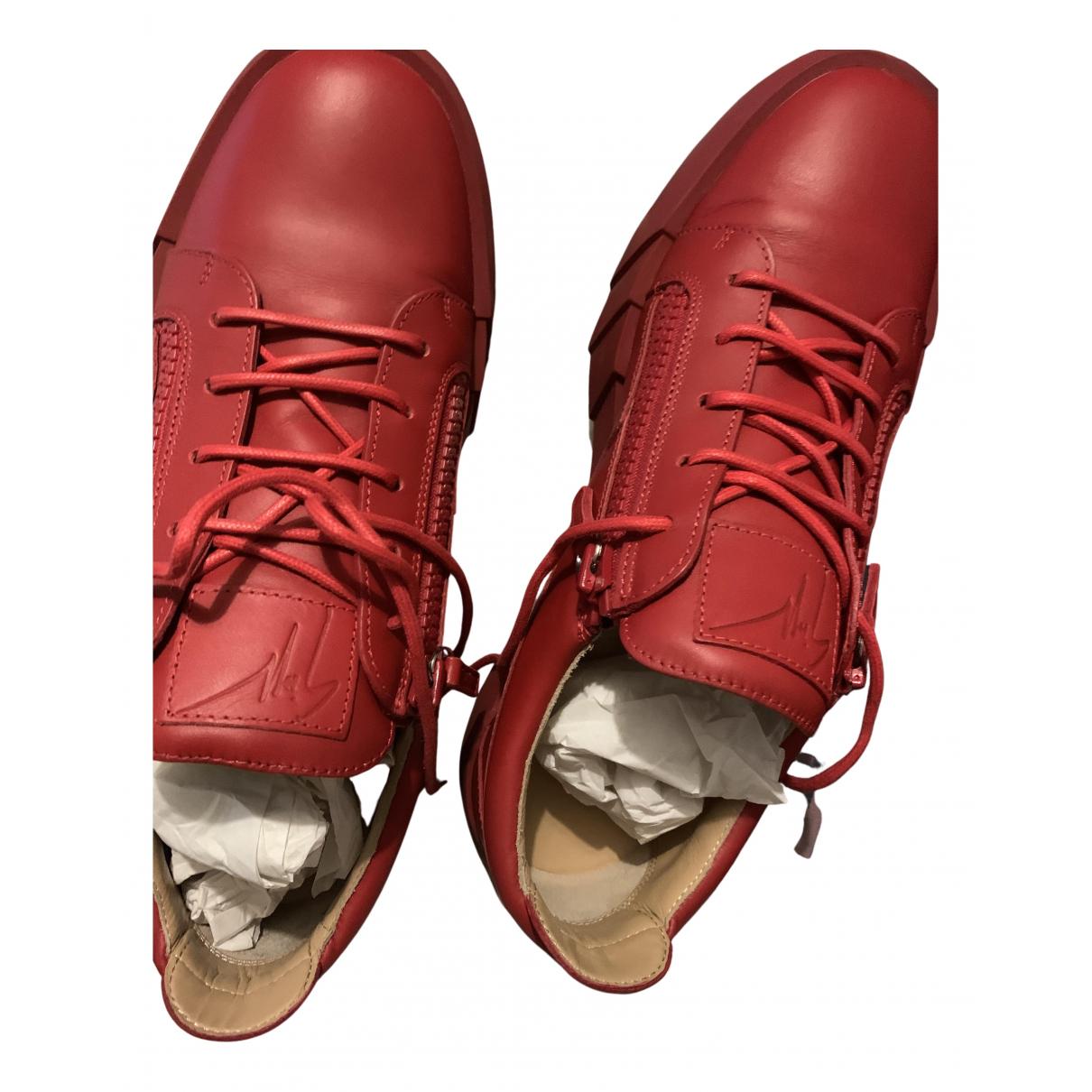 Giuseppe Zanotti N Red Leather Lace ups for Men 44 EU