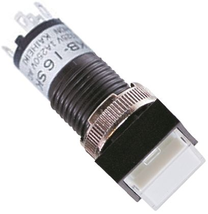 NKK Switches Single Pole Double Throw (SPDT) Latching Blue LED Push Button Switch, 12.3 (Dia.)mm, Panel Mount
