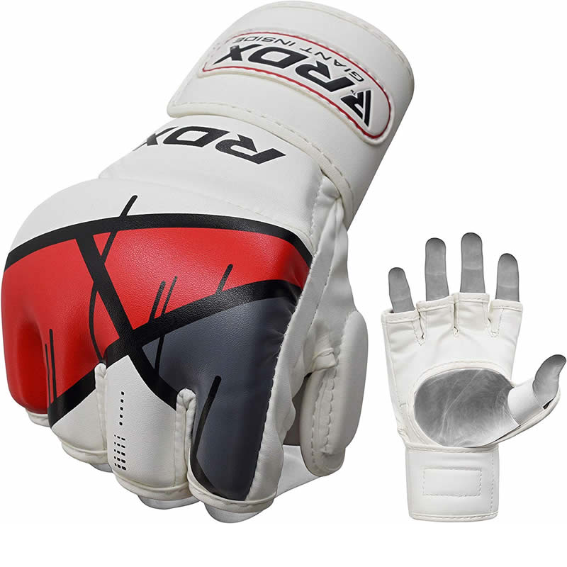 RDX T7 Grappling MMA Gloves Sparring Large Red/White/Grey/Black