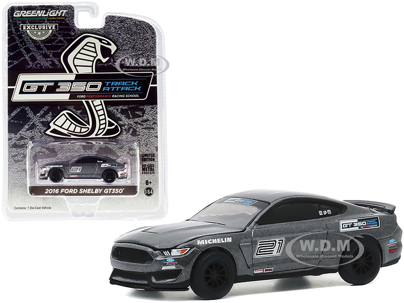 2016 Ford Mustang Shelby GT350 21 Magnetic Gray Ford Performance Racing School GT350 Track Attack Hobby Exclusive 1/64 Diecast Model Car by Green