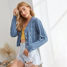 Daisy Embroidery Button Front Cardigan