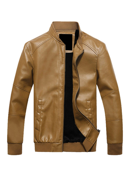 Milanoo Men's Windbreaker Jacket Zipper Up Lined Pocket PU Leather Fashion Jacket