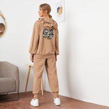Letter Graphic Ruffle Hoodie & Sweatpants Set