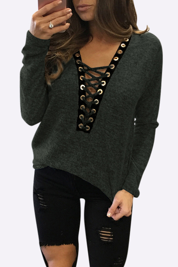 Yoins Sexy Deep V-neck Lace-up Front Casual T-shirts in Army Green