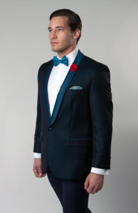 Mens Shawl Collar Turquoise Blue Single Button Dinner Jacket