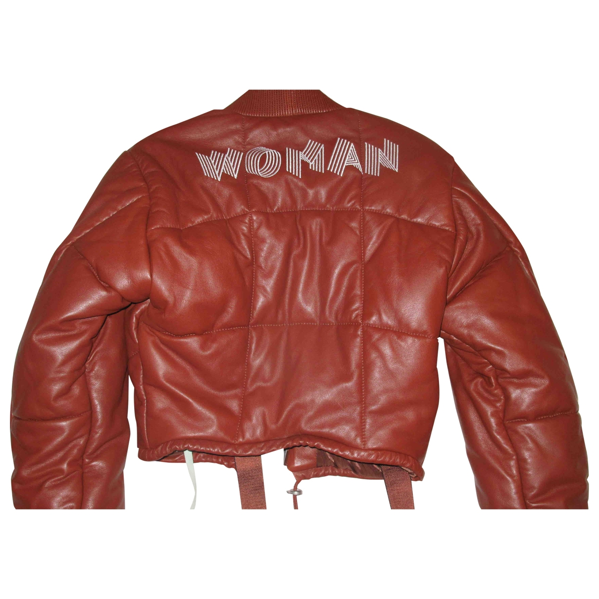 Off-white \N Burgundy Leather Leather jacket for Women One Size International