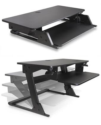 Volante Collection VOLANTE-B Desktop Sit-Stand Workstation with Compact Footprint  Gas Assisted Height Adjustment  Extendable Workspace and 20 Degree