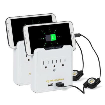 Parasurtenseur mural à 3 prises avec support pour téléphone intelligent & 2 USB 2.1A - PrimeCables® - 2/paquet
